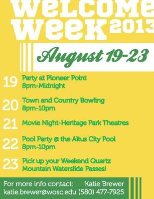Welcome Week Western Oklahoma State College Altus Ok